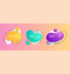set abstract liquid shape abstract banners vector image