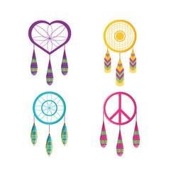 Set dreamcatcher symbol hippie concept vector