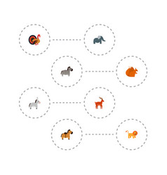 Set of animal icons flat style symbols with turkey vector