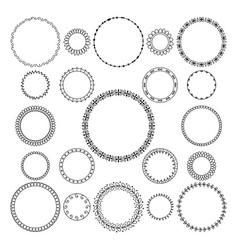 Set of round and circular decorative frame vector