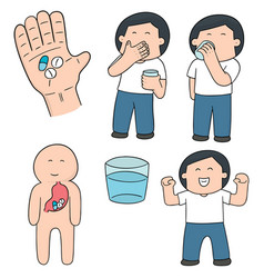 set of taking medicine vector image