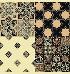set patterns in style persian tiles vector image