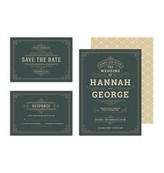 Set wedding invitations flourishes ornaments cards vector