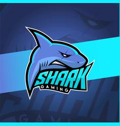 Shark esport logo with blue color theme vector