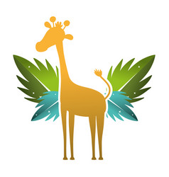 Silhouette giraffe with exotic leaves reserve vector