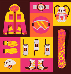 Snowboard sportswear set isolated accessories vector