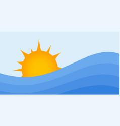 summer background sun and water waves sunrise or vector image