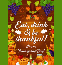 Thanksgiving autumn holiday harvest card vector