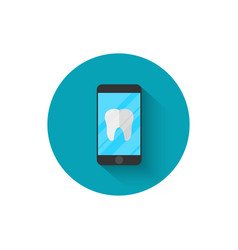 Tooth icon on a smartphone modern dentistry in a vector