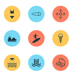 tourism icons set collection of bathing costume vector image