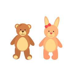 Toys set teddy bear and rabbit vector