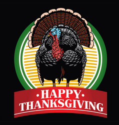 turkey badge design with happy thanksgiving text vector image