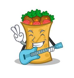 With guitar kebab wrap character cartoon vector