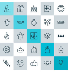 Year icons set collection of doughnut balloon vector