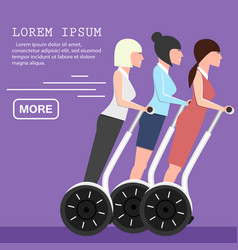 Young business women on segway vector