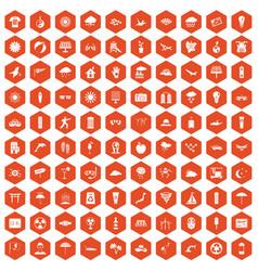 100 sun icons hexagon orange vector