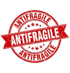 antifragile round grunge ribbon stamp vector image vector image