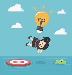 business woman with a light bulb parachute is vector image vector image