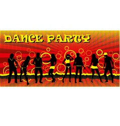 Dance party ticket red vector image