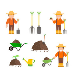 farmer and gardener with tools vector image vector image