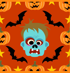 halloween background seamless with zombie vector image