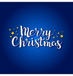 Merry Christmas lettering on a blue background vector image vector image