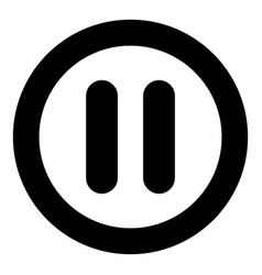 pause icon black color in circle vector image vector image