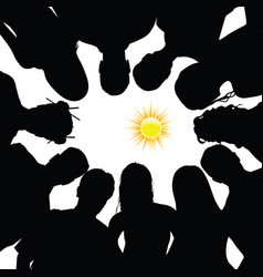 people silhouette with sun vector image
