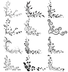 set of floral corners on white background vector image vector image