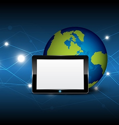 tablet computer and globe vector image