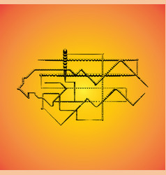 mechanical schemes engineering drawing vector image