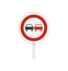 no overtaking road traffic sign icon flat style vector image