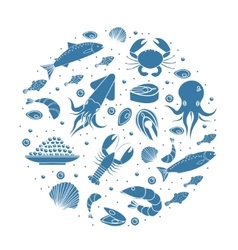 Seafood icons set in round shapesilhouette Sea vector image vector image