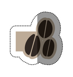 sticker monochrome emblem with coffee beans vector image vector image