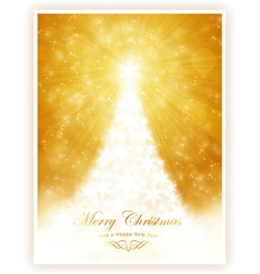 White shiny Christmas tree on sparkling golden bac vector image vector image