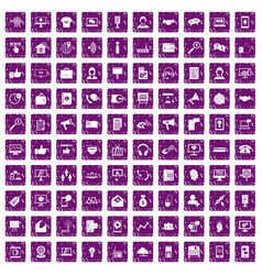 100 help desk icons set grunge purple vector image vector image