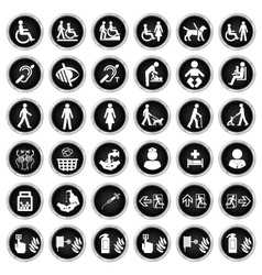 Disability people and medical Icon collection vector image vector image