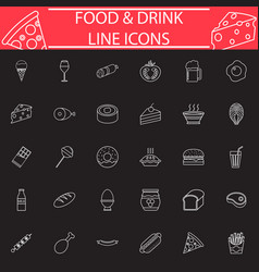 food and drink line icon set vector image