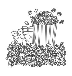 grayscale contour with popcorn container and movie vector image vector image