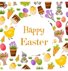 Happy Easter Background Flat Icons Spring vector image