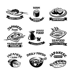 seafood sushi japanese restaurant icons vector image