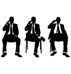 businessmen on chairs talking on the phone vector image