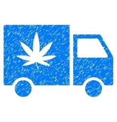 Cannabis Delivery Van Grainy Texture Icon vector image