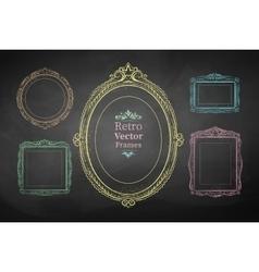 Chalk drawn vintage frames vector image vector image