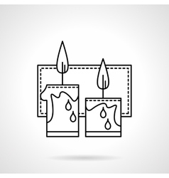 Festive candles black line icon vector image vector image