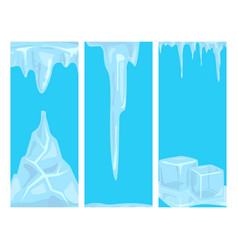 ice caps snowdrifts icicles card design arctic vector image