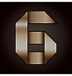 Number metal gold ribbon - 6 - six vector image
