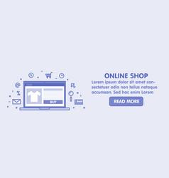 online shop concept line laptop with web page vector image