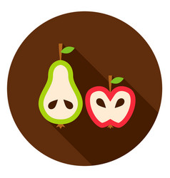 pear apple circle icon vector image vector image