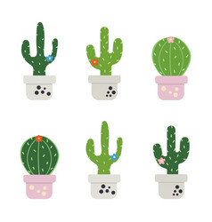 set of funny cactus vector image